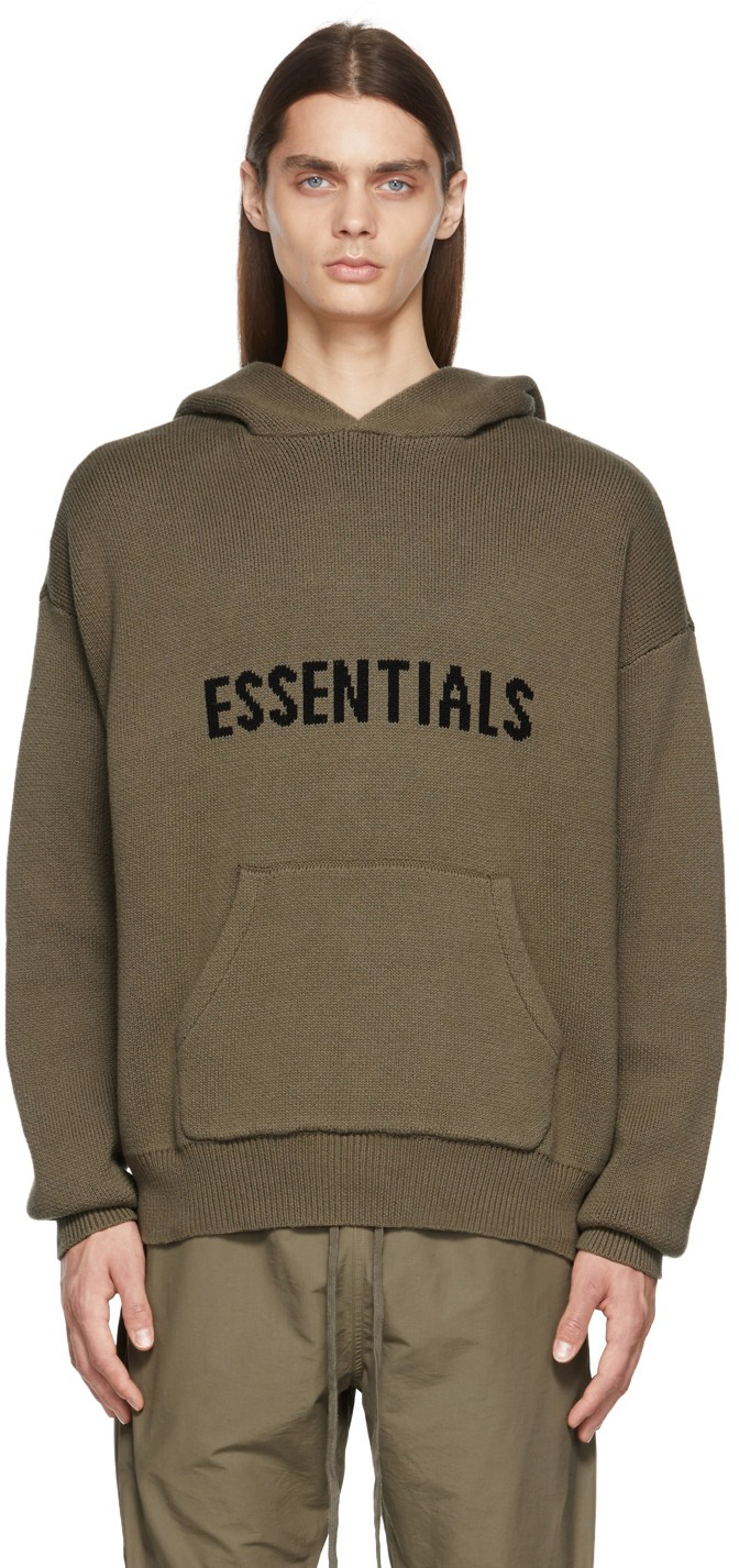 Essentials Brown Knit Hoodie